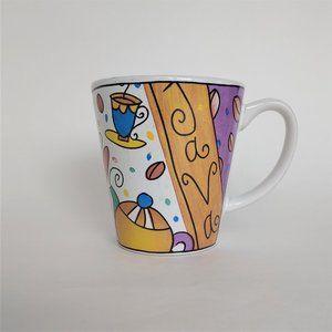 Vintage Java Mosaic Coffee Cup Mug Multicolored